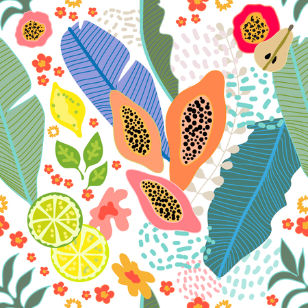 Seamless botanical pattern with exotic flowers, lemons and tropical leaves inspired by 1950s-1960s design. Retro textile collection. On dark blue background. Illustration