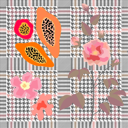 Seamless hounds tooth pattern with English motifs. Textile design for school uniform, plaids, scarfs.