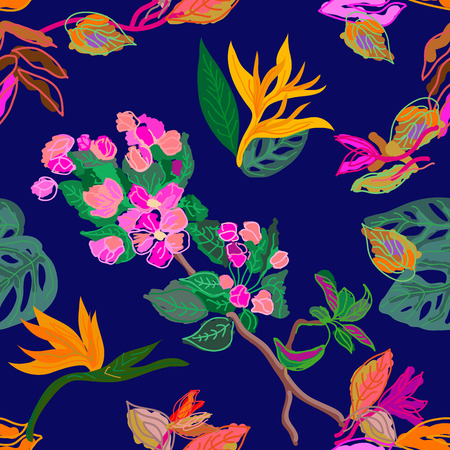 Trendy vector pattern with palm leaves and exotic plants on dark blue background. Trendy design for textile, cards, covers.