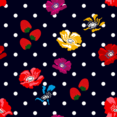 Seamless floral pattern with Spanish and Russian motifs. Trendy design for textile, cards and covers.