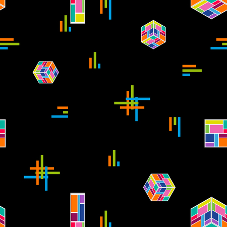 Seamless vector pattern with falling cubes, stripes and crosses on contrast background. Trendy design for cards, covers, posters, textile.
