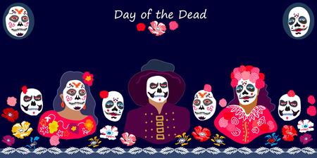 personajes coloridos con caras pintadas y flores sobre fondo verde oscuro. vector inspirado plantilla inspirada por el ornamento tradicional de colores sin fin
