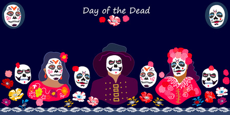 Colorful characters with painted faces and flowers on dark blue background. Seamless vector border inspired by traditional autumn Mexican festival.