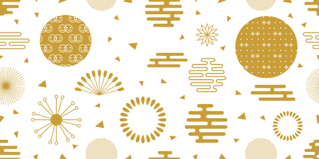 Japanese art motifs. Seamless white and golden pattern with flowers, fans, ornate circles and other elements.