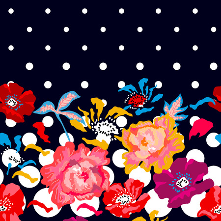 Colorful small poppies and peonies on dark blue background.  Trendy design for textile, cards and covers. Illustration