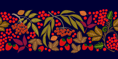 Abstract floral ornaments with vintage motifs inspired by Russian folk art. On black background.