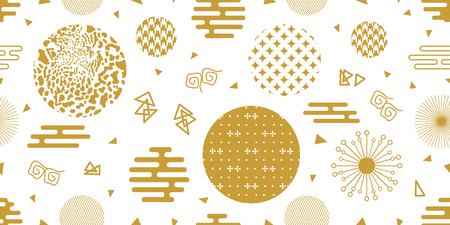 Seamless white and golden pattern with flowers, fans, animal prints, ornate circles and other elements.