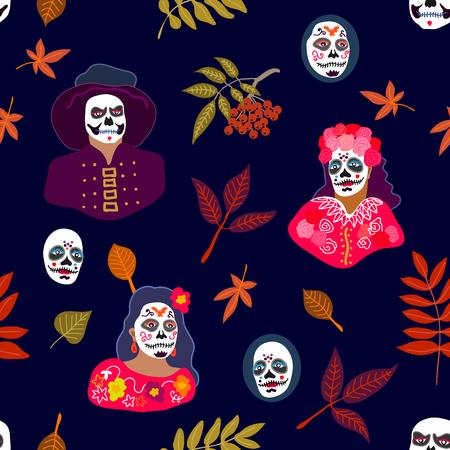impresión colorida con la gente muertas y las hojas de otoño en el fondo oscuro .