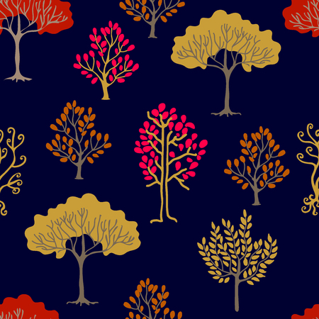 Seamless vector pattern with different trees on black background.