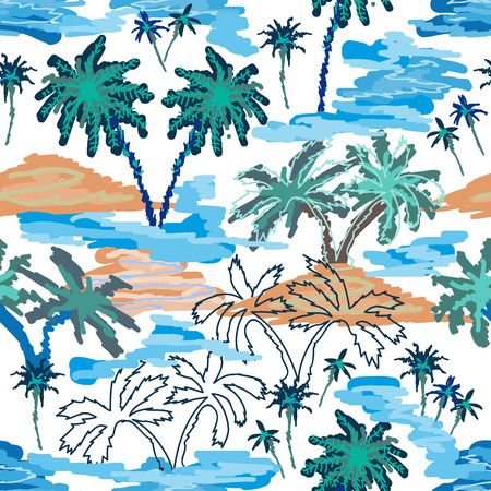 Seamless vector pattern with ocean, islands and palms. Tropical textile collection. On blue background.
