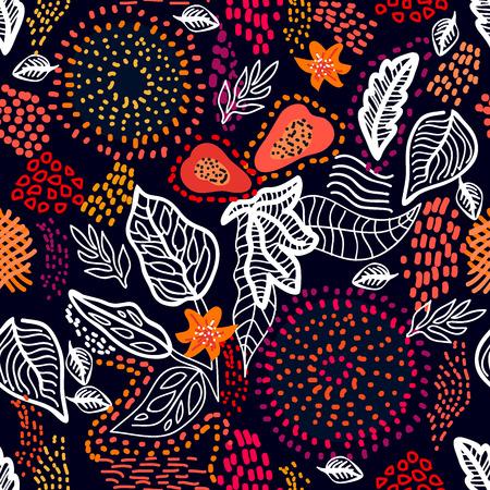 Patrón de vector transparente con hojas lineales, frutos de papaya y círculos punteados. Colección de textiles étnicos.