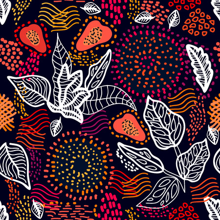 Seamless vector pattern with linear leaves, papaya fruits and dotted circles. Ethnic textile collection.