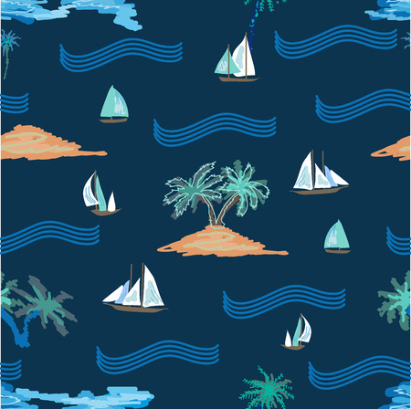 Seamless vector pattern with ocean, ships, islands and palms. Tropical textile collection. On blue background.