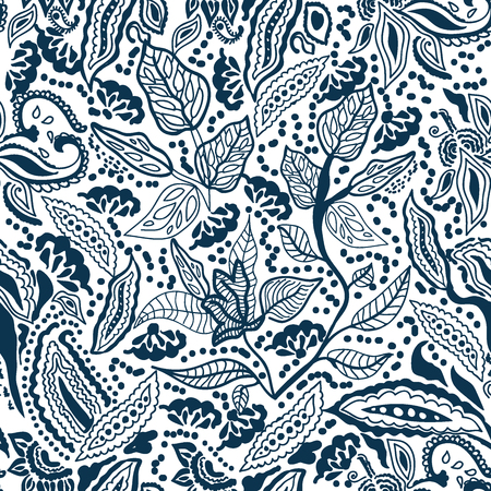 Seamless vector pattern with paisleys, leaves, flowers and other floral elements inspired by Turkish folk art. Ethnic textile collection.