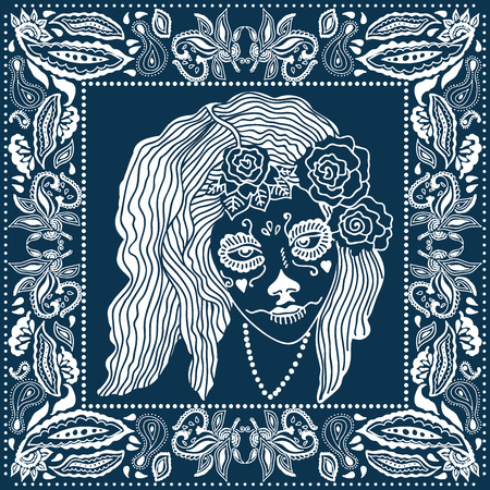 Day of the Dead bandana. Blue and white scarf with floral frame and Canrina faces. Design inspired by Mexican art.