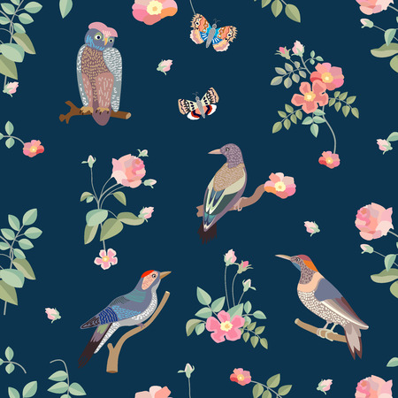Birds and blooming roses on dark blue background. Vintage textile collection. Stock Illustratie