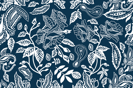 Seamless vector pattern with paisleys, leaves, flowers and other floral elements. Vintage textile collection.  イラスト・ベクター素材