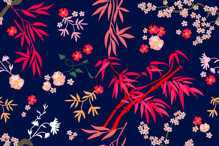 Seamless vector pattern with bambo and flowers inspired by oriental art. On contrast background.