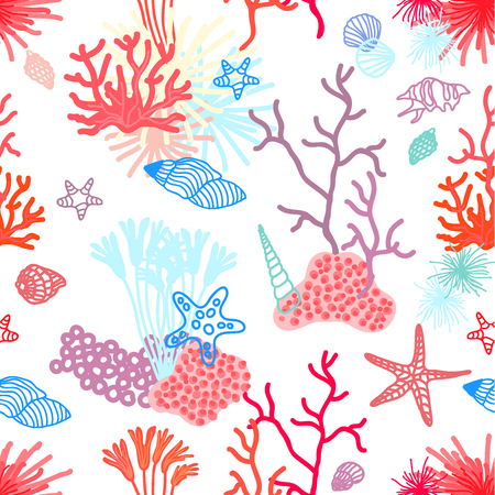 Seamless vector pattern with corals, starfishes and shells. Marine textile collection. On contrast background. Illustration