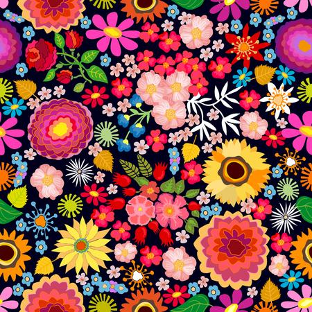 Modello vettoriale senza soluzione di continuità con diversi elementi floreali. Crisantemi, astri, fiori di campo su sfondo scuro. Motivi giapponesi, cinesi, coreani. Collezione tessile vintage. Vettoriali