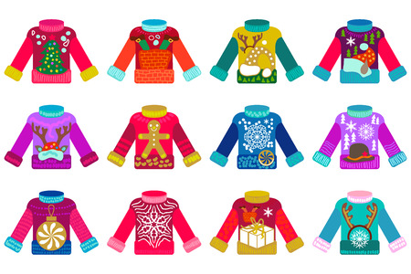 Colorful Christmas jumpers with different festive decorations. Ornaments with Xmas tree, deers, snowflakes, gingerbread and other elements. Ilustração