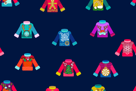 Seamless vector pattern with colorful pullovers on white background. Simple design for greeting cards and packaging. 스톡 콘텐츠 - 107840646