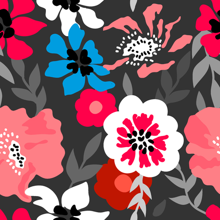 Seamless vector pattern with large flowers and leaves inspired by 1950s design. 免版税图像 - 108057518