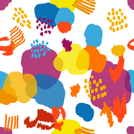 Colorful chaotic spots, dots and lines. Trendy design for textile, cards and packaging.