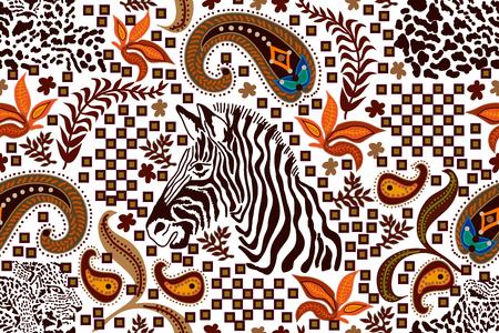 Safari textile design collection. On white background. Vectores