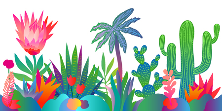Colorful pattern with abstract cacti, lotus flowers, palm trees and other plants. Trendy design for textile and cards.