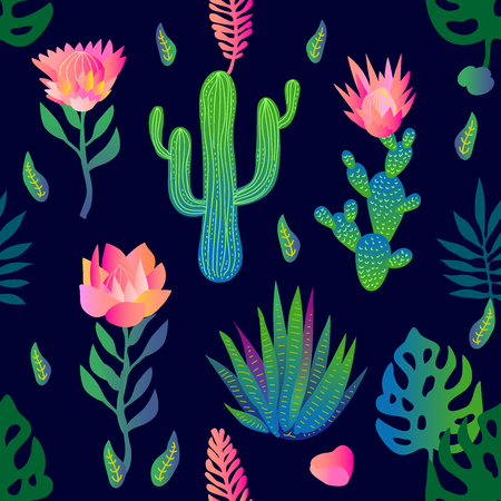 Seamless vector pattern with flowers and palm leaves. Trendy design with gradient colors. Tropical textile collection.