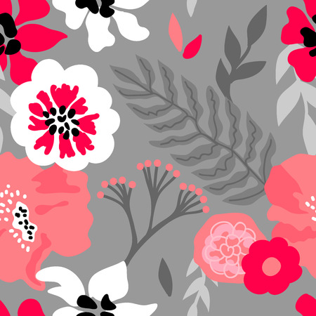 Seamless vector pattern with large flowers and branches inspired by 1950s design.