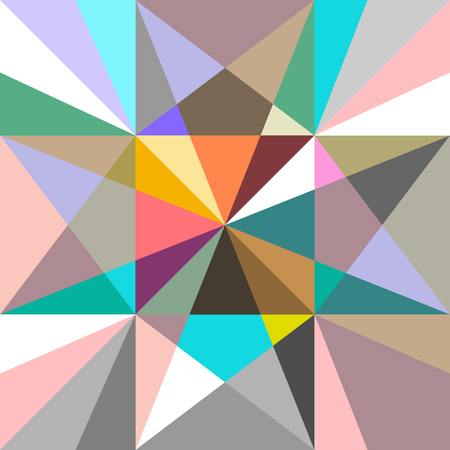 Polygon pattern with bright triangles. Autumn textile collection.