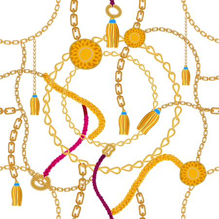 Seamless vector pattern with chains, golden rings and straps. Vintage textile collection.