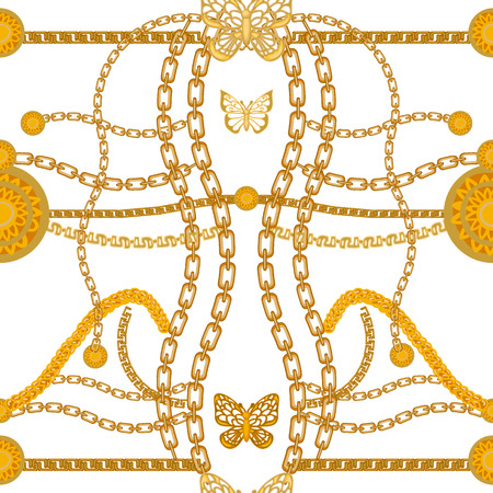 Seamless vector pattern with chains and golden coins. Vintage textile collection.