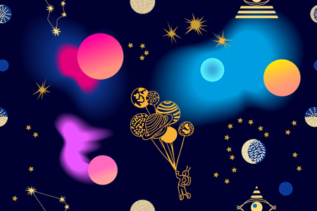 Seamless vector pattern with stars, comets and planets on dark blue background.