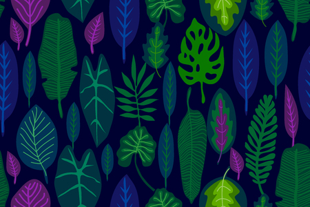 Seamless vector pattern with different leaves and plants. Aloha textile collection. Ilustracje wektorowe