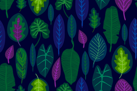 Seamless vector pattern with different leaves and plants. Aloha textile collection.