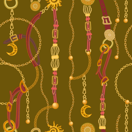 Seamless vector pattern with straps, chains and jewelry elements. Women's fashon collection. Ilustração