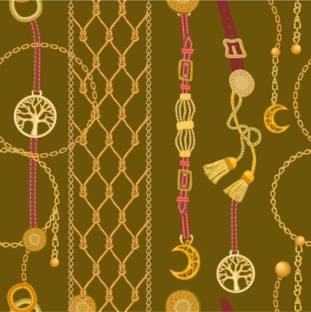Patrón de vector transparente con elementos de joyería y accesorios de moda. Colección de moda femenina.
