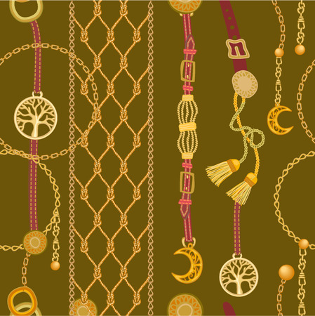 Seamless vector pattern with jewelry elements and fashion accessories. Women's fashon collection.