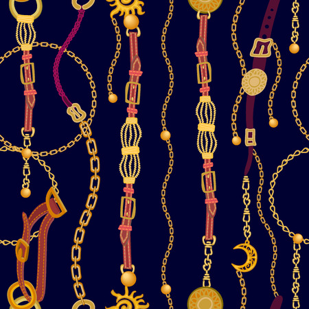 Seamless vector pattern with straps, chains and jewelry elements. Women's fashon collection. 向量圖像