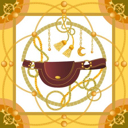 Cepillos de cortina, bolso de piel y cadenas doradas sobre fondo a contraste. Colección de moda femenina.