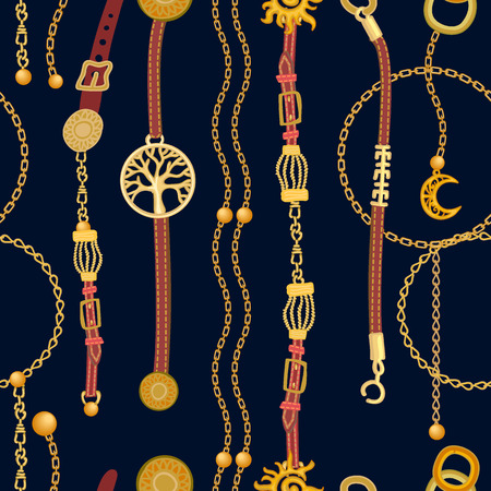 Seamless vector pattern with jewelry elements and fashion accessories. Womens fashon collection. Illustration
