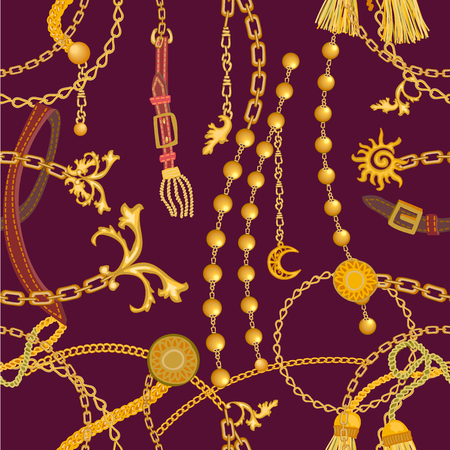 Seamless vector pattern with jewelry elements. Women's fashon collection. On black background. Illustration