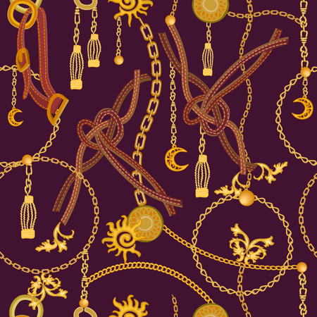 Naadloos vectorpatroon met leerkoorden, riemen, gouden kettingen en juwelenelementen. Damesmodecollectie.