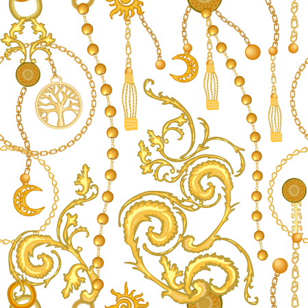 Seamless vector pattern with jewelry elements. Womens fashon collection.