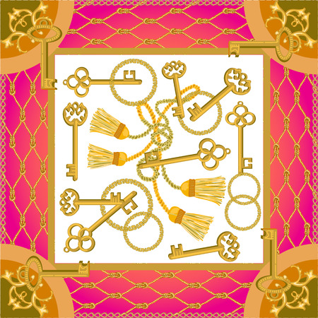 Curtain brushes and golden chains on contrast background. Women's fashon collection.