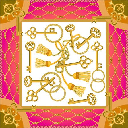 Gordijnborstels en gouden kettingen op contrasterende achtergrond. Damesmodecollectie.