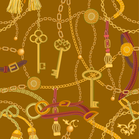 Seamless vector pattern with jewelry elements. Women's fashon collection. On black background. 向量圖像